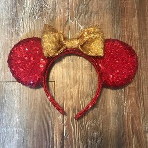 Red & Gold Mickey Ears with Light Up Bow